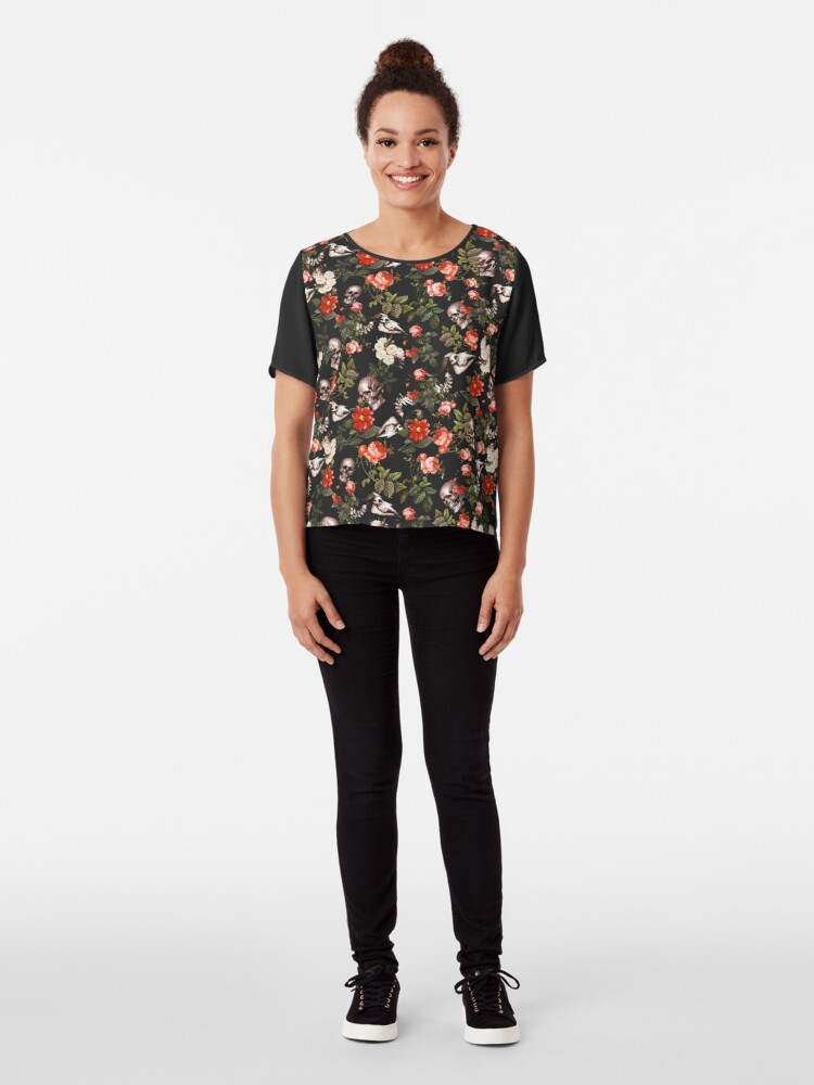 Alternate view of Skull and Floral Pattern Chiffon Top