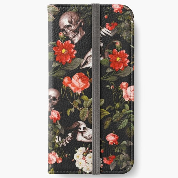 Skull and Floral Pattern iPhone Wallet