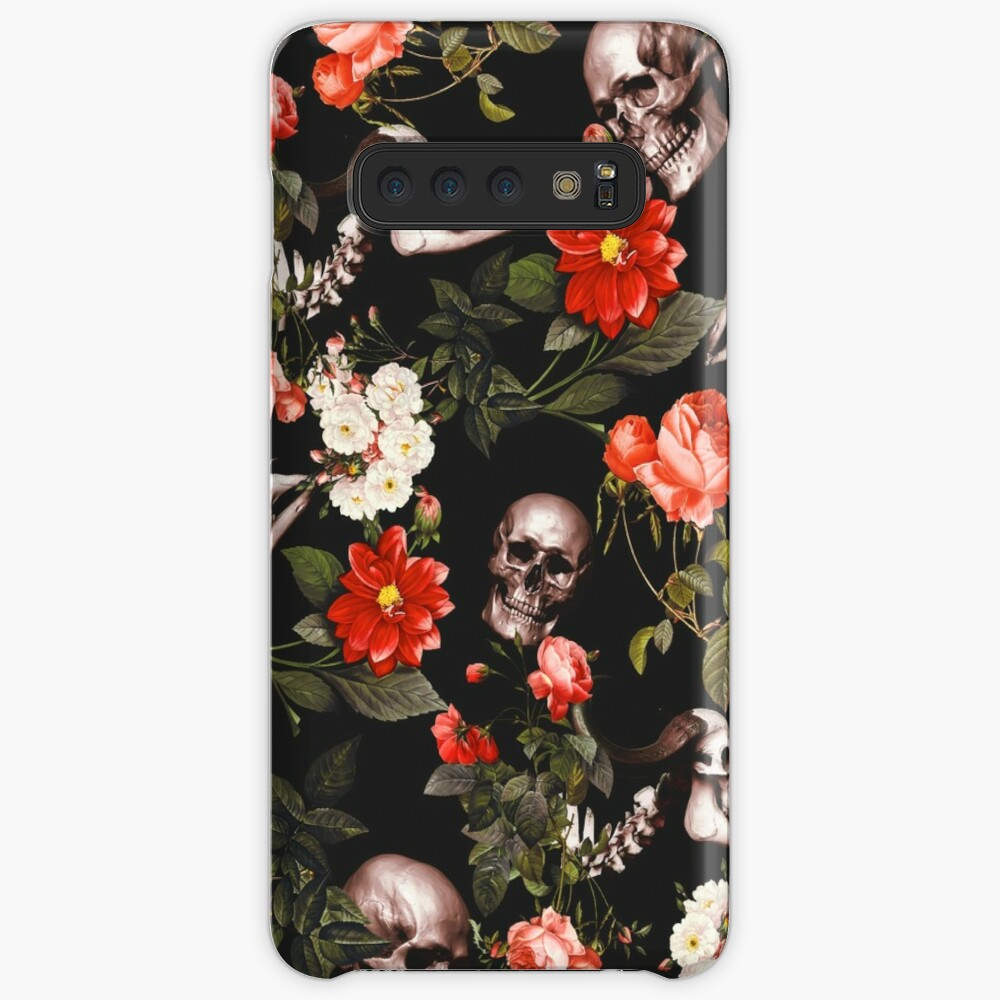 Skull and Floral Pattern Case & Skin for Samsung Galaxy