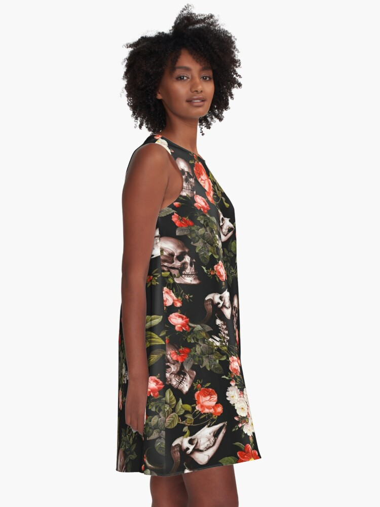 Alternate view of Skull and Floral Pattern A-Line Dress