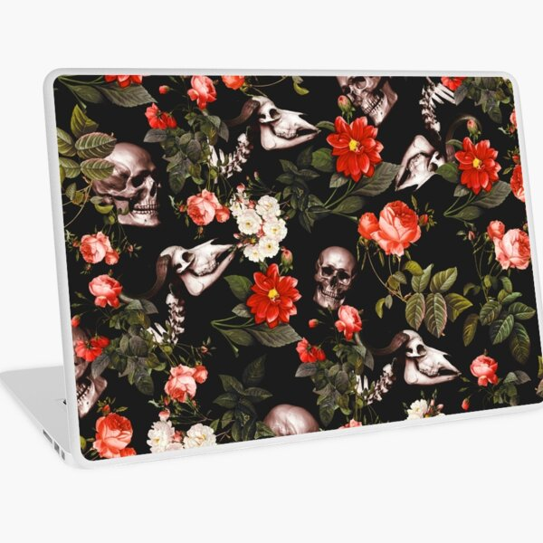 Skull and Floral Pattern Laptop Skin