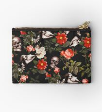 Skull and Floral Pattern Zipper Pouch