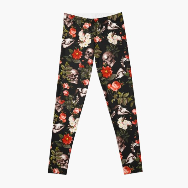 Skull and Floral Pattern Leggings
