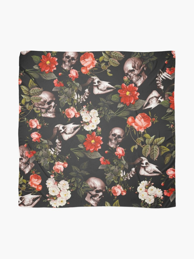 Alternate view of Skull and Floral Pattern Scarf