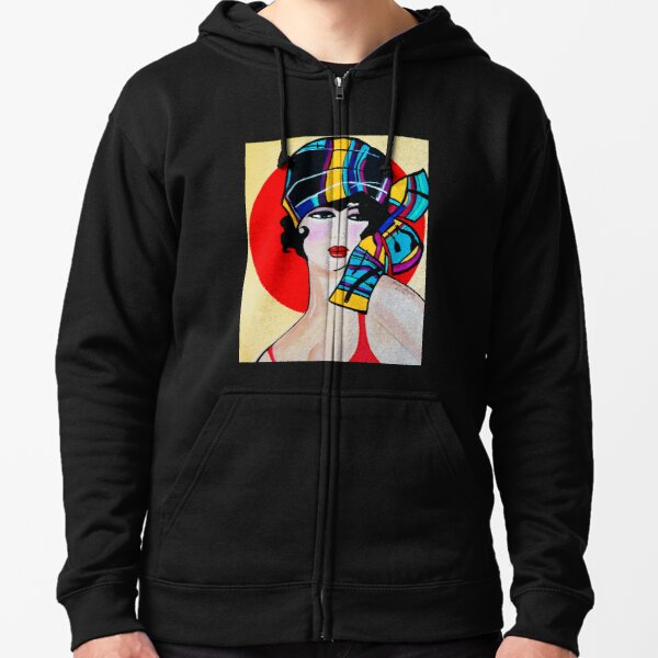 NEW 1920`S ART DECO  GIRL WITH HAT   ANNA Zipped Hoodie