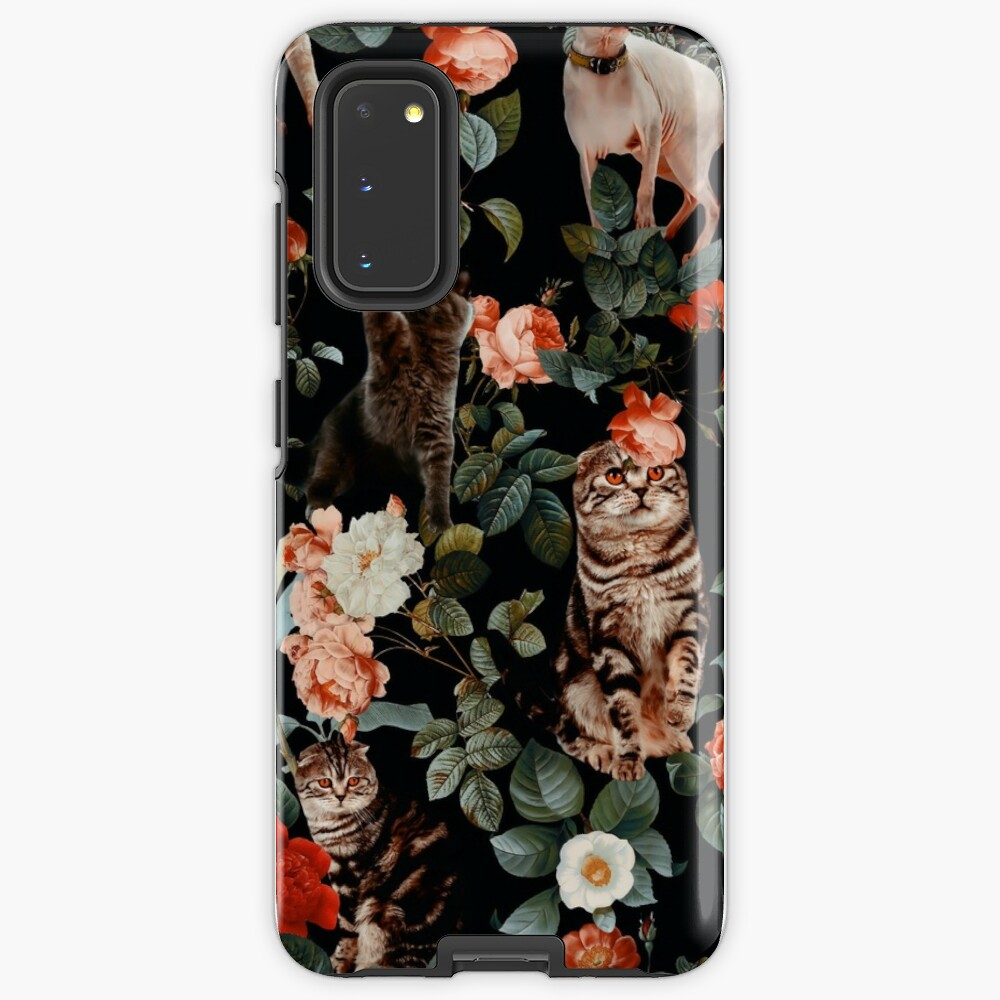 Floral and Cats Pattern Case & Skin for Samsung Galaxy
