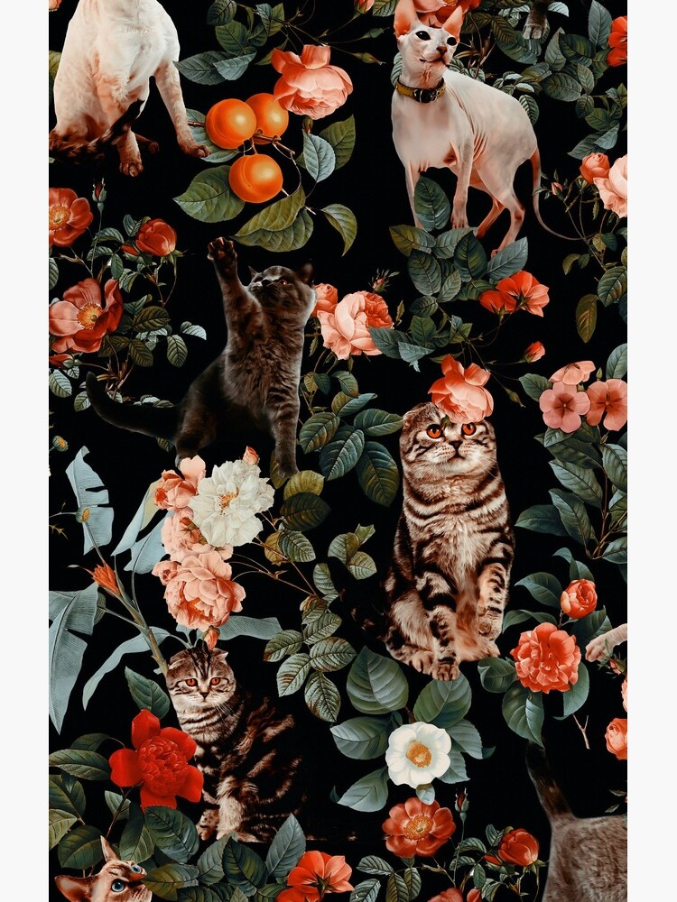 Floral and Cats Pattern by burcukyurek