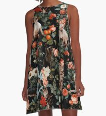 Floral and Cats Pattern A-Line Dress