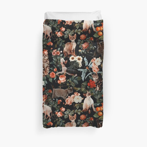 Floral and Cats Pattern Duvet Cover