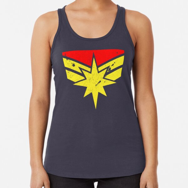 Distressed Super Heroine Racerback Tank Top