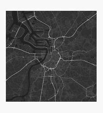 Antwerp, Belgium Map. (White on black) Photographic Print