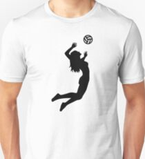 Volleyball jumping girl woman Slim Fit T-Shirt