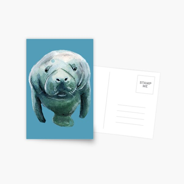 Save The Manatees! Stickers, shirts, phone cases and more! Postcard