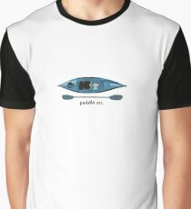"""Blue Kayak with paddle illustration, and """"Paddle on"""" text Graphic T-Shirt"""