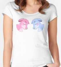 Blue & Pink Deer Women's Fitted Scoop T-Shirt