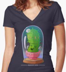 Frankenstein's cactus Women's Fitted V-Neck T-Shirt