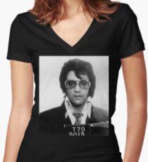 Elvis - Mug Shot Women's Fitted V-Neck T-Shirt