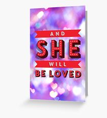 Lyric Art, Maroon 5, She Will Be Loved Greeting Card