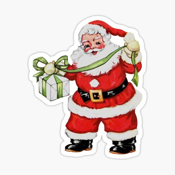 Retro Vintage Santa Claus Xmas Christmas Holiday Sticker