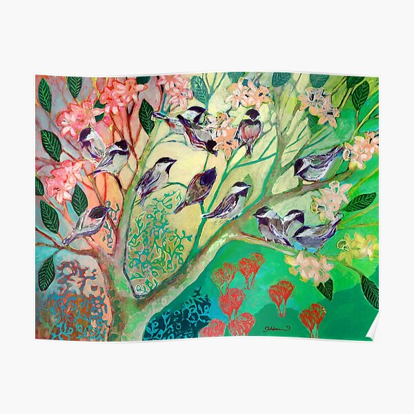Chickadees in Spring Poster