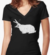 Hillary White Rabbit Women's Fitted V-Neck T-Shirt