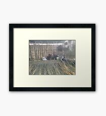 Workers preparing bamboo sections Framed Print