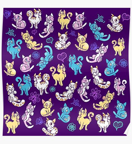 Colourful Kitty cat pattern Poster