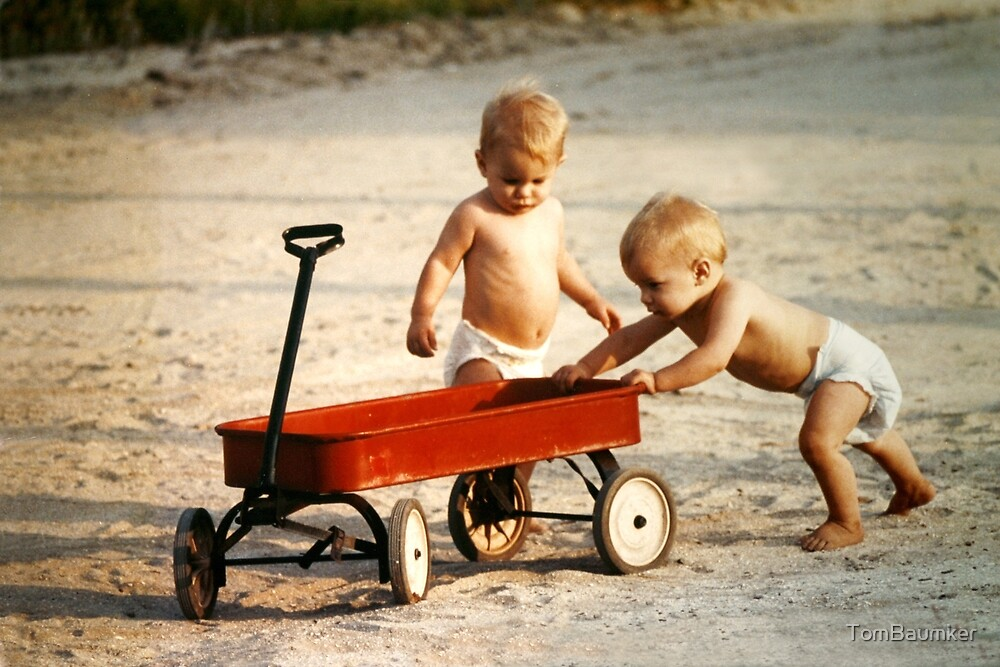 TWINS & RED WAGON by TomBaumker