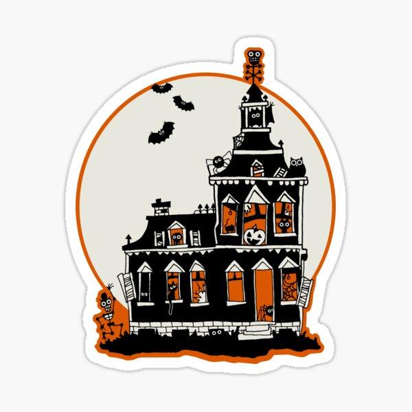 Maison hantée de style vintage - Happy Halloween Sticker