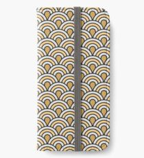 Art deco,scale pattern,gold,navy blue,white,yellow,vintage,1920 era,chic,elegant,trendy,modern iPhone Wallet