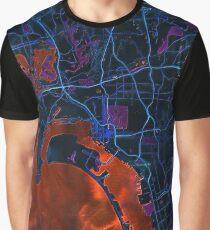 Dark map of San Diego metropolitan area Graphic T-Shirt