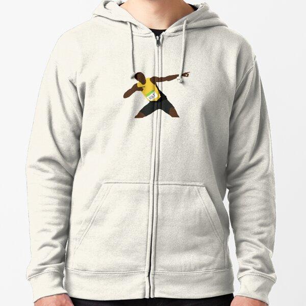 Cartoon Usain Bolt Zipped Hoodie