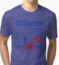 Bill Clinton Building a Bridge 1996 Presidential Campaign Tri-blend T-Shirt