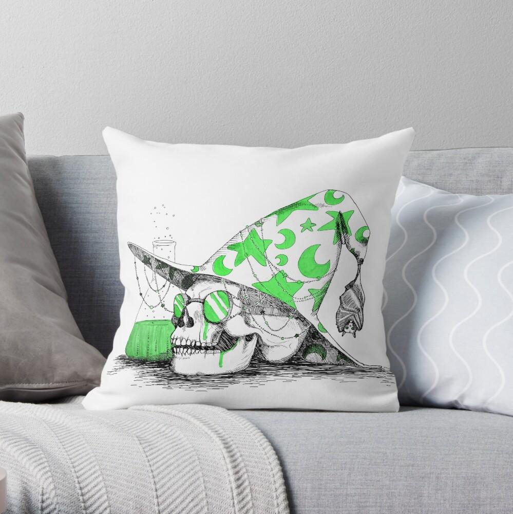 Wizard Skull Throw Pillow