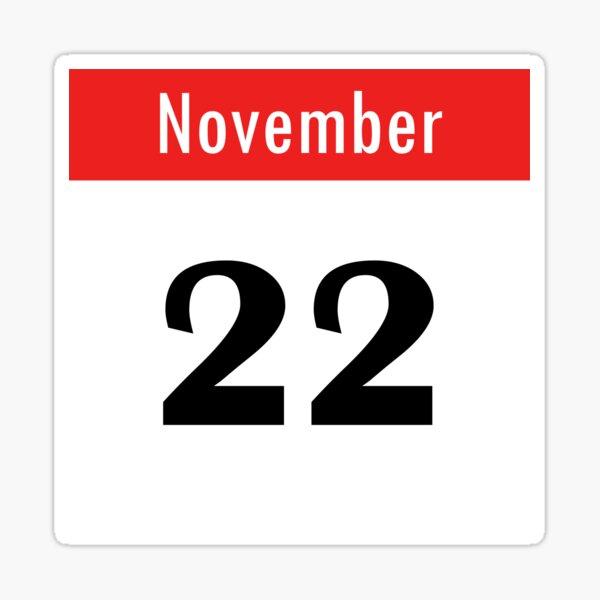 November 22th Calendar Sticker