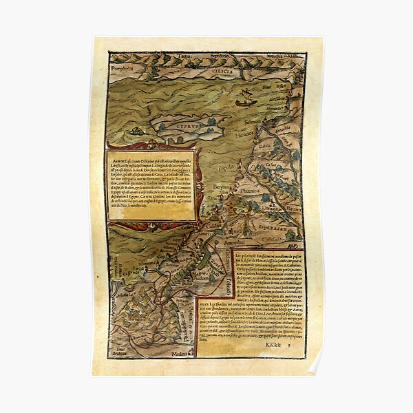 Map Of The Holy Land 1544 Poster