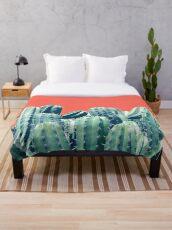 Cactus on Coral #redbubble #lifestyle Throw Blanket