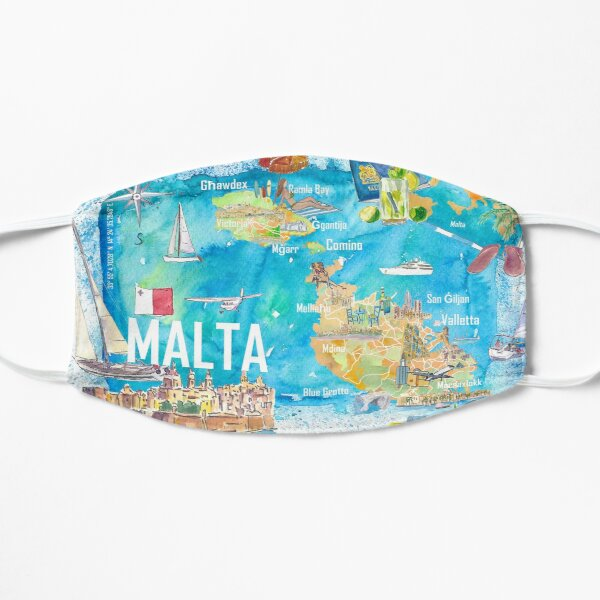Malta Illustrated Island Travel Map with Roads and Highlights Flat Mask