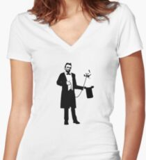 Lincoln's Llama Trick Women's Fitted V-Neck T-Shirt