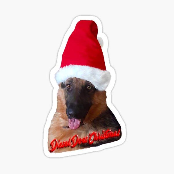 German Shepherd, Humorous Christmas Cute Puppy Dog Pet Sticker