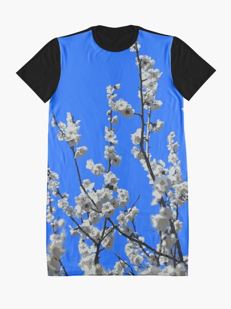 Alternate view of Beautiful White Umenohana Plum Blossoms Illustration Graphic T-Shirt Dress