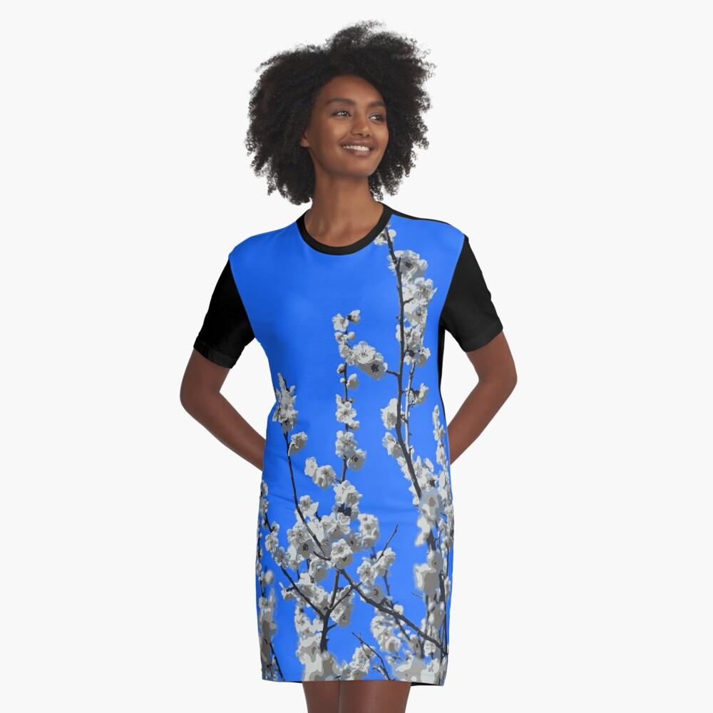 Beautiful White Umenohana Plum Blossoms Illustration Graphic T-Shirt Dress