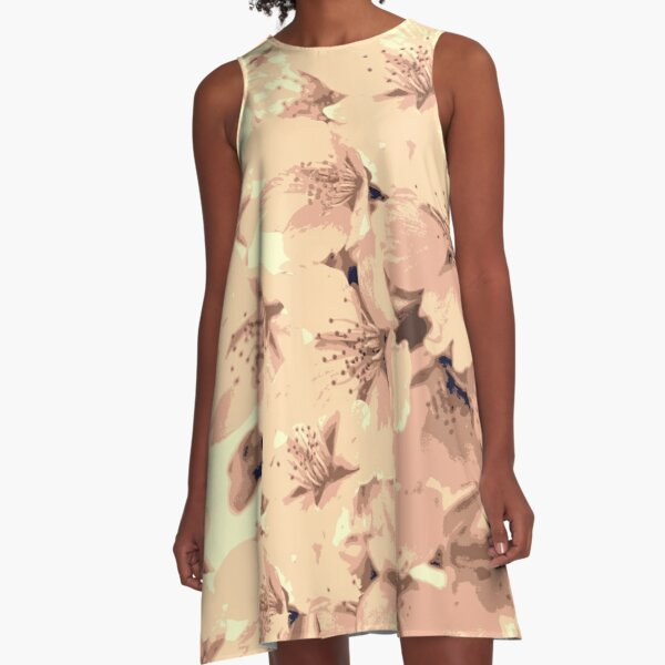 Vintage Peach Pink Cream Cherry Blossoms Illustration A-Line Dress