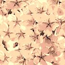 Vintage Peach Pink Cream Cherry Blossoms Illustration by Beverly Claire Kaiya