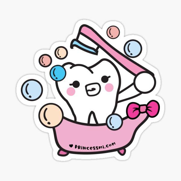 clean tooth toothbrush, cartoon   Sticker