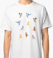 Vintage Wallpaper Birds on White Classic T-Shirt