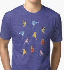 Vintage Wallpaper Birds on Black Tri-blend T-Shirt
