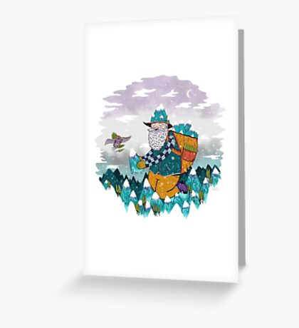 Mountain Guy and Owl Friend Greeting Card