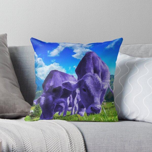Purple Cows Grazing Throw Pillow