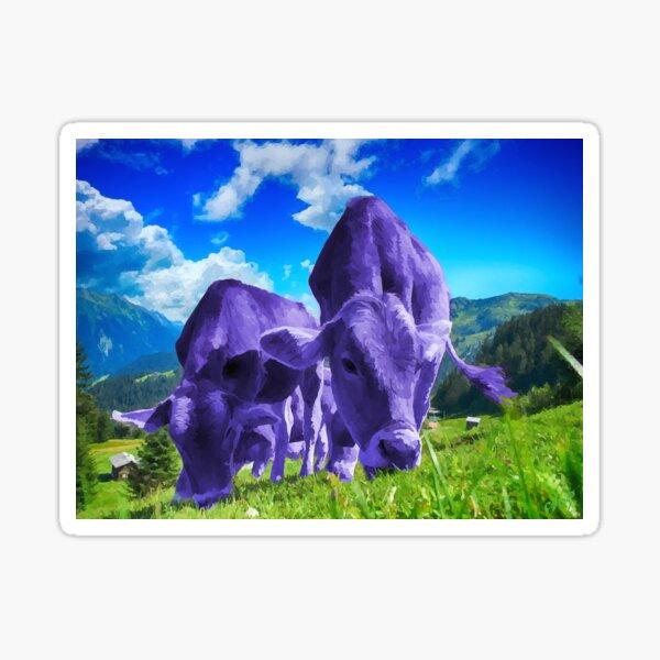 Purple Cows Grazing Sticker